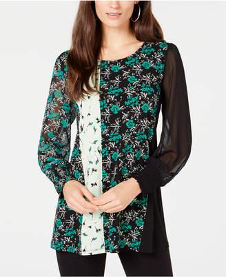 Alfani Mixed-Print Knit Smocked-Cuff Tunic, Created for Macy's