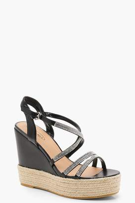 boohoo Diamante Strappy Wedges