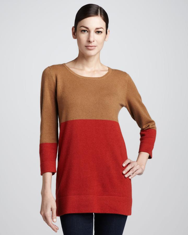 Neiman Marcus Colorblock Three-Quarter Sweater