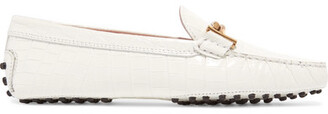 Tod's Gommino Embellished Croc-effect Leather Loafers - White