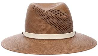 Rag & Bone Zoe leather-trimmed straw hat
