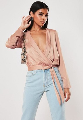 Missguided Pink Satin Lapel Wrap Blouse