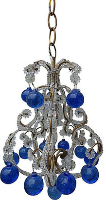 One Kings Lane Vintage French Beaded Blue Drop Chandelier