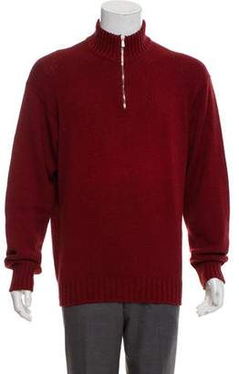Loro Piana Mock Neck Half-Zip Sweater