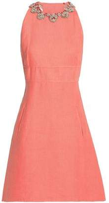 Valentino Flared Embellished Linen Mini Dress