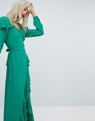 Asos Design Long Sleeve Ruffle Wrap Maxi Tea Dress