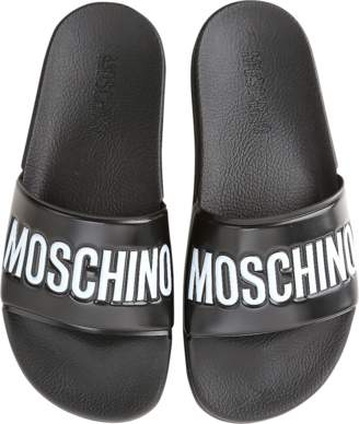 Moschino Black Pool Slider Sandals w/White Logo