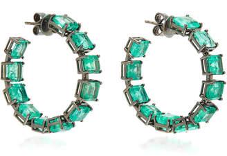 Nina Runsdorf M'O Exclusive: One-Of-A-Kind Emerald Square Hoop Earrings