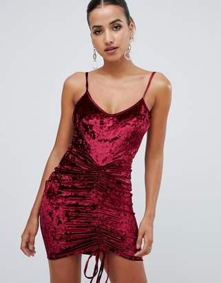 AX Paris ruched velvet mini dress