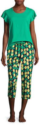 Liz Claiborne Womens Capri Pajama Set 2-pc. Short Sleeve Round Neck 0400d8980