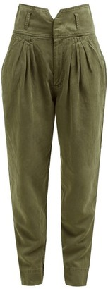 Frame Pleated High Rise Slim Fit Trousers - Womens - Khaki
