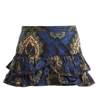 Isabel Marant Bertille floral-print ruffle-trimmed mini skirt