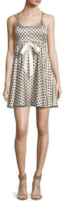 Cinq à Sept Geneva Printed Silk Mini Dress, Ivory
