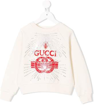 Gucci Kids rhinestone embellished logo sweatshirt
