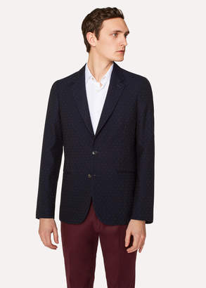 Paul Smith Men's Tailored-Fit Dark Navy 'Diamond Dot' Pattern Wool Blazer