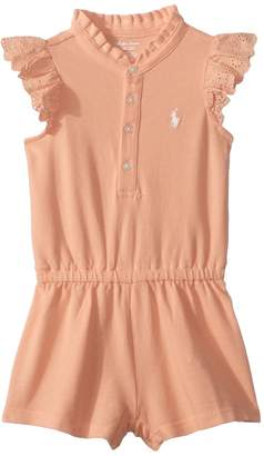 Ralph Lauren Cotton Flutter-Sleeve Romper Girl's Jumpsuit & Rompers One Piece