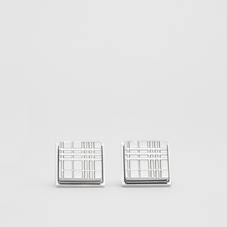 Burberry Palladium-plated Check-engraved Square Cufflinks