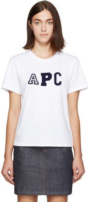 A.P.C. White Collegien Logo T-Shirt $95 thestylecure.com