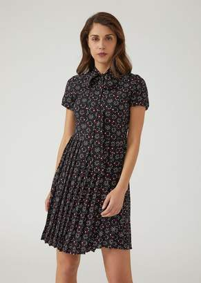 Emporio Armani Crepe Dress With Loading Motif Print And Pleated Skirt