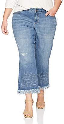 Denim Crush Women's Studded Fray Hem Bootcut Jean Plus Size