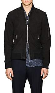 Officine Generale Men's Charlie Suede Bomber Jacket - Dark Gray