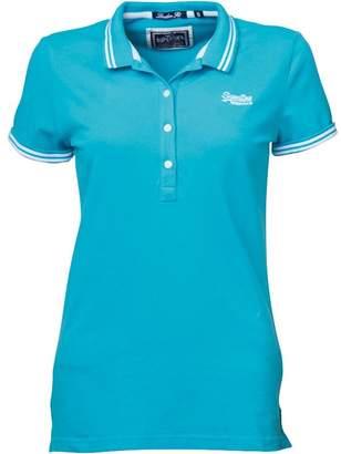 Superdry Womens Tipped Mini Collar Polo Aquamarine