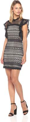 Ark & Co Women's Ruffle Sleeve Lace Shift Dress Black/Nude Small