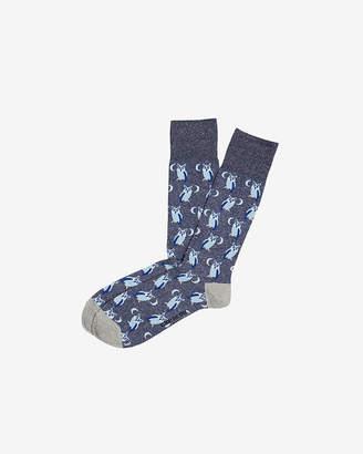 Express Owl Print Dress Socks