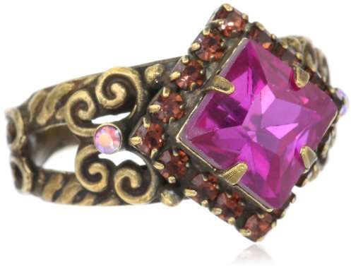 """Sorrelli Pink Orchid"""" Pointed Square Center Crystal Gold-Tone Adjustable Ring"""