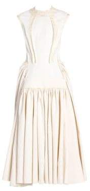 Marni Women's Cap Sleeve Ruched Skirt Maxi Dress - Lily White Stone - Size 44 (8)