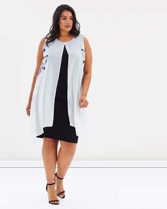 Evans Boutique Lily Print Split Front Dress