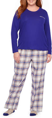 Liz Claiborne 3 Piece Flannel Pant Pajama Set With Socks-Plus