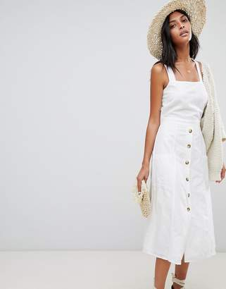 Warehouse midi dress with button front in white