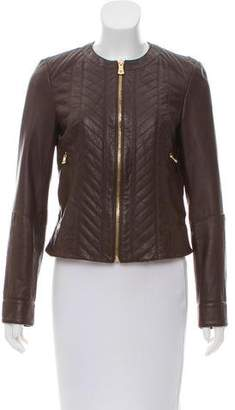 Tory Burch Collarless Leather Jacket