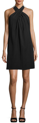 Trina Turk Flawless Finish Crossover Dress w/ Contrast Bow