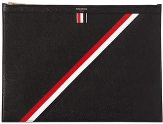 Thom Browne Medium Stripes Pebbled Leather Zip Pouch