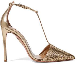 Aquazzura Ritz Leather Pumps - Gold