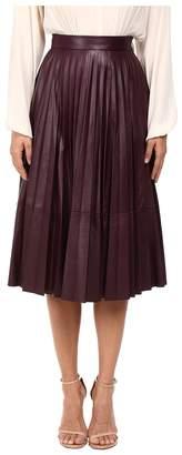Prabal Gurung Pleated Leather Skirt Women's Skirt