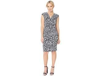 Lauren Ralph Lauren B801 Minden Floral Matte Jersey Rodya Cap Sleeve Day Dress