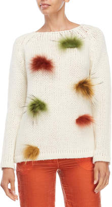 Blugirl Real Fur Pom-Pom Sweater