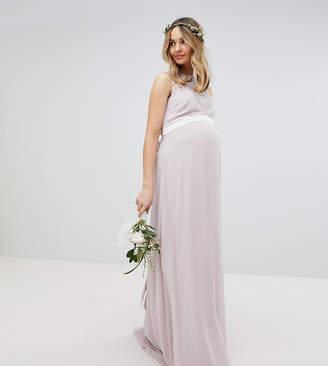 TFNC Maternity Maternity wedding sateen bow back maxi dress