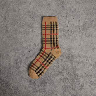 Burberry Vintage Check Cotton Blend Socks , Size: S/M, Yellow