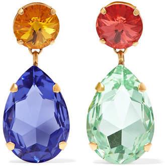 Swarovski Roxanne Assoulin - Hip-hop But Not Gold-tone Crystal Clip Earrings - Blue