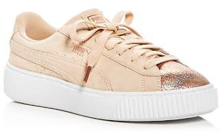Puma Women's Luna Lux Suede Lace Up Platform Sneakers