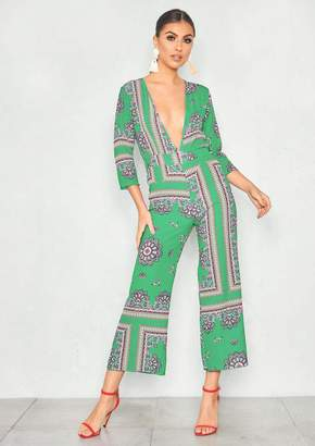 32459f5aa8932 Missy Empire Missyempire Caggie Green Paisley Plunge Neck Culotte Jumpsuit