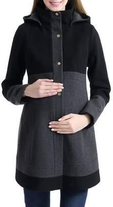 166e91ce5f995 Kimi + Kai Maternity Tessa Wool-Blend Colorblock Coat with Hood