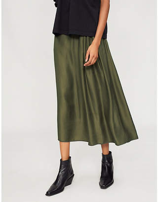 Y's Ys High-rise satin midi skirt