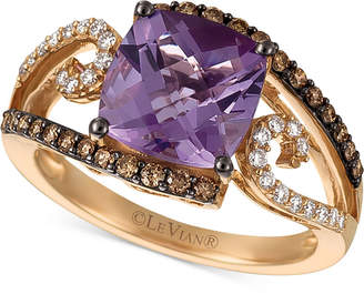 LeVian Le Vian Chocolatier Amethyst (2-3/4 ct. t.w.) and Diamond (3/8 ct. t.w.) Ring in 14k Rose Gold
