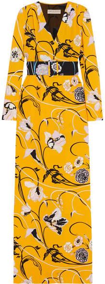Emilio Pucci - Belted Floral-print Crepe Gown - Saffron