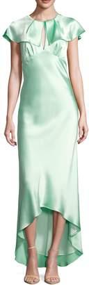 ABS by Allen Schwartz Women's Crewneck Cap Sleeve High Low Gown